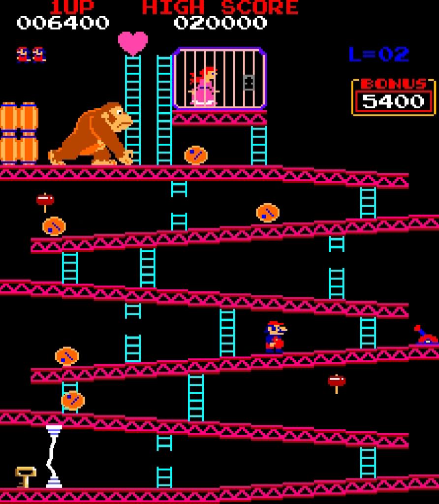 Такой была графика до Марка Феррари. Игра Donkey Kong 1981 г.
